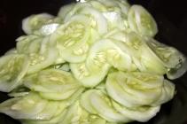 Cucumber mixed with salt